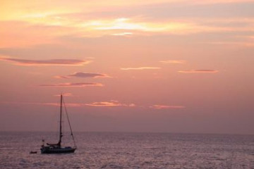 The best views 2004 ocean sunsetwithboats02 20040507 Finca Argayall (La Gomera)